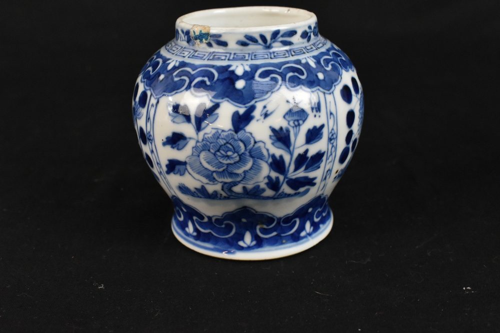 A 19th century Chinese blue and white porcelain vase with swollen body and cyclindrical neck - Image 9 of 12