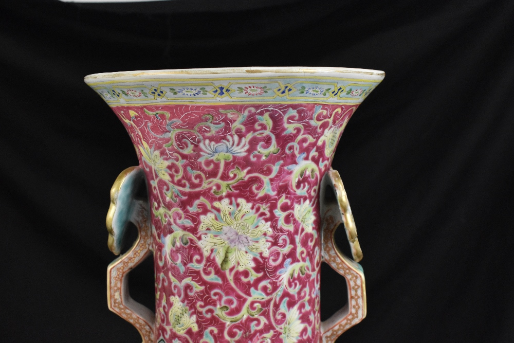 A large 19th century Chinese porcelain twin handled Famille Rose vase with flared neck with - Image 6 of 24