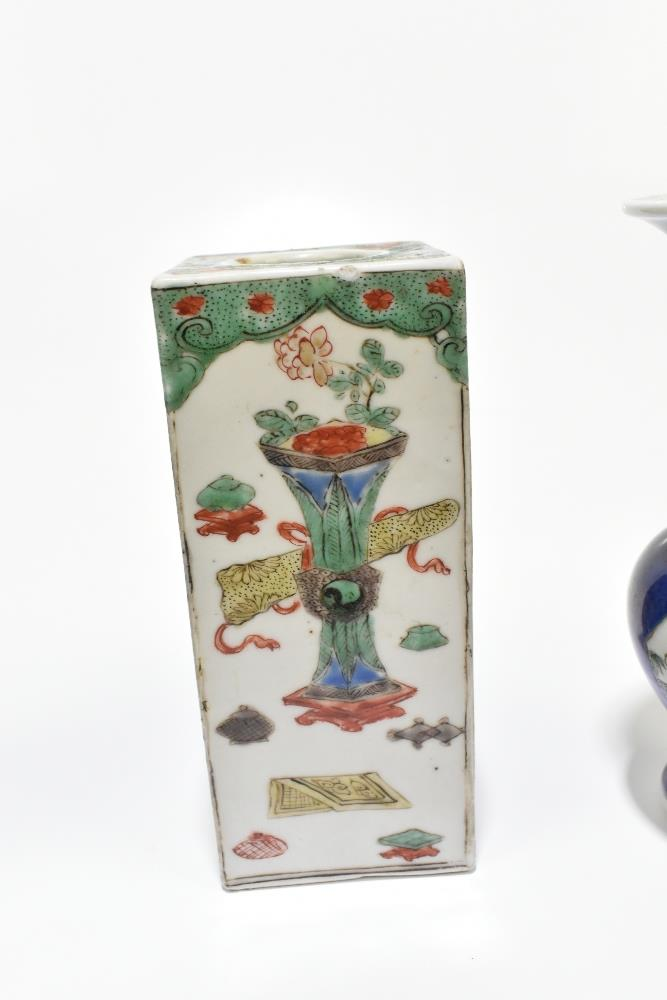 A 19th century Chinese Famille Verte Wucai porcelain vase of square form painted with objects, - Image 7 of 15