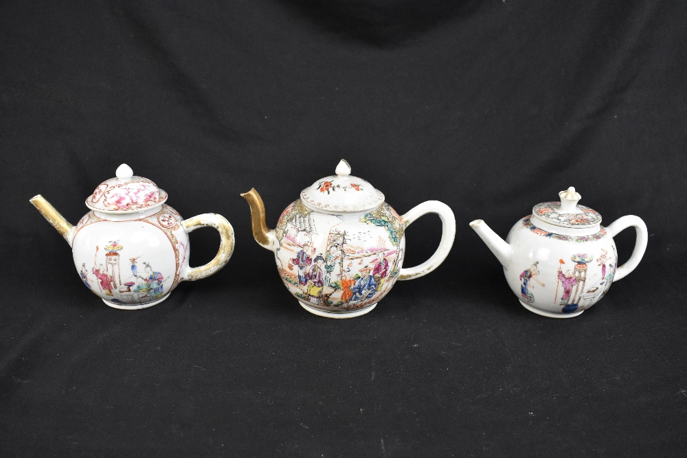 Three 18th century Chinese Famille Rose bullet shaped teapots including an example with figures - Image 3 of 10