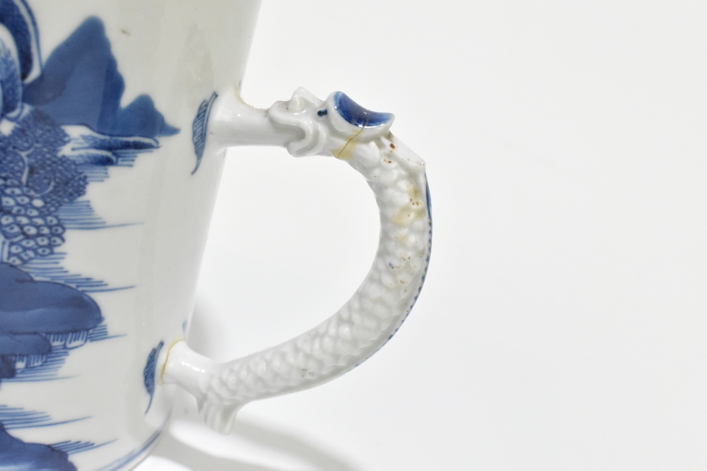 An 18th century Chinese Export blue and white mug decorated with a landscape scene and applied - Image 5 of 13