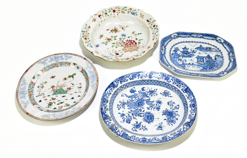 Four pieces of 18th century Chinese Export including a large Famille Rose bowl with scalloped