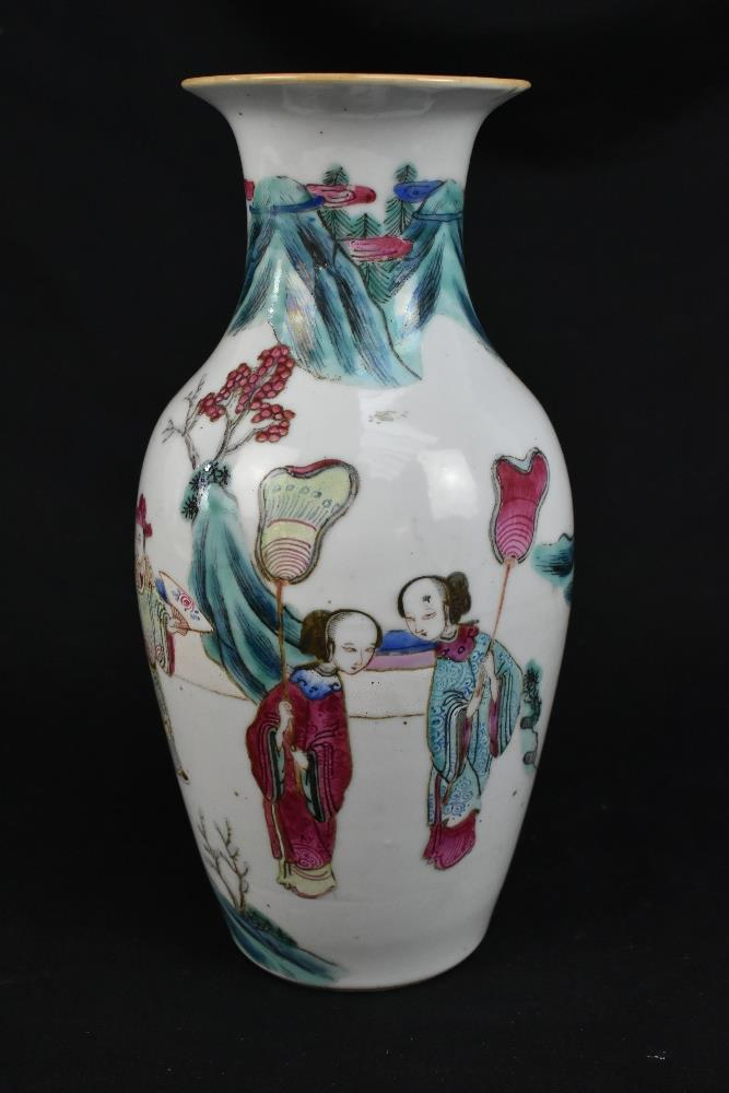 A late 19th century Chinese Famille Verte vase decorated in enamels with figures in landscape - Image 4 of 32