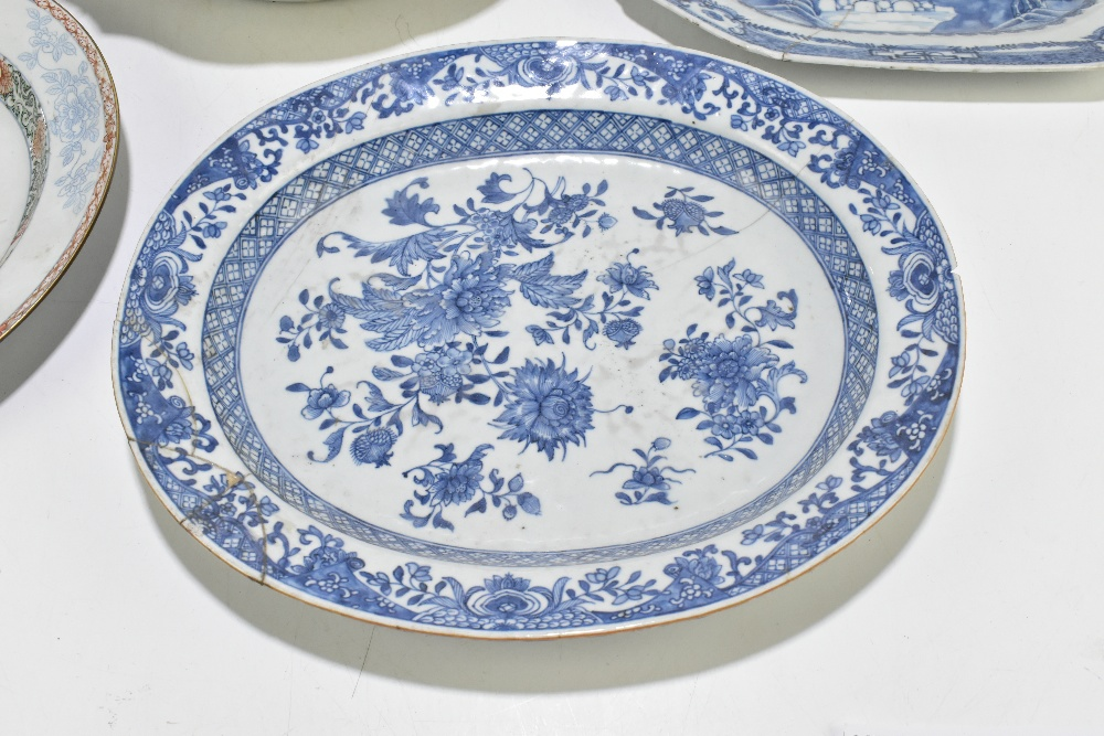 Four pieces of 18th century Chinese Export including a large Famille Rose bowl with scalloped - Image 4 of 15