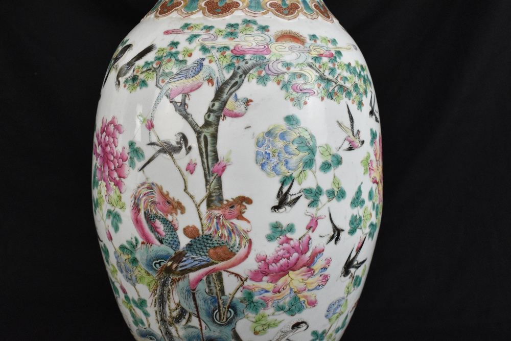 A large 19th century Chinese porcelain twin handled Famille Rose vase with flared neck with - Image 15 of 24