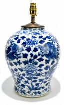 A 19th century Chinese blue and white porcelain vase converted to a table lamp, painted with a