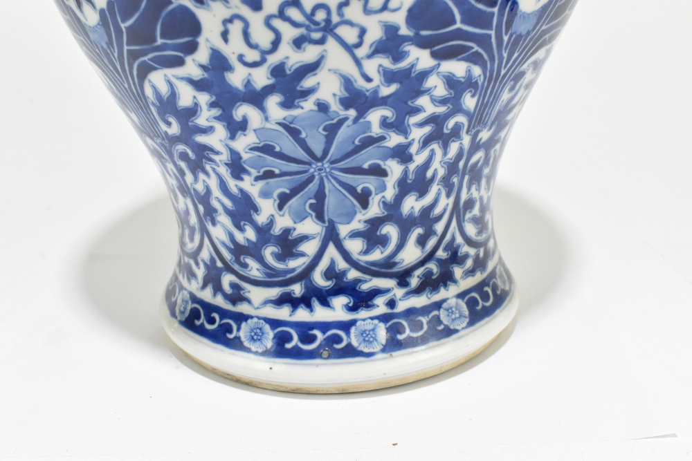 A late 19th century Chinese blue and white porcelain temple jar and cover, the top rim painted - Image 2 of 12
