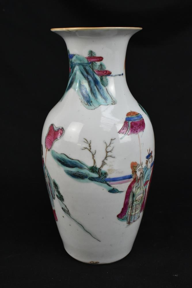 A late 19th century Chinese Famille Verte vase decorated in enamels with figures in landscape - Image 5 of 32