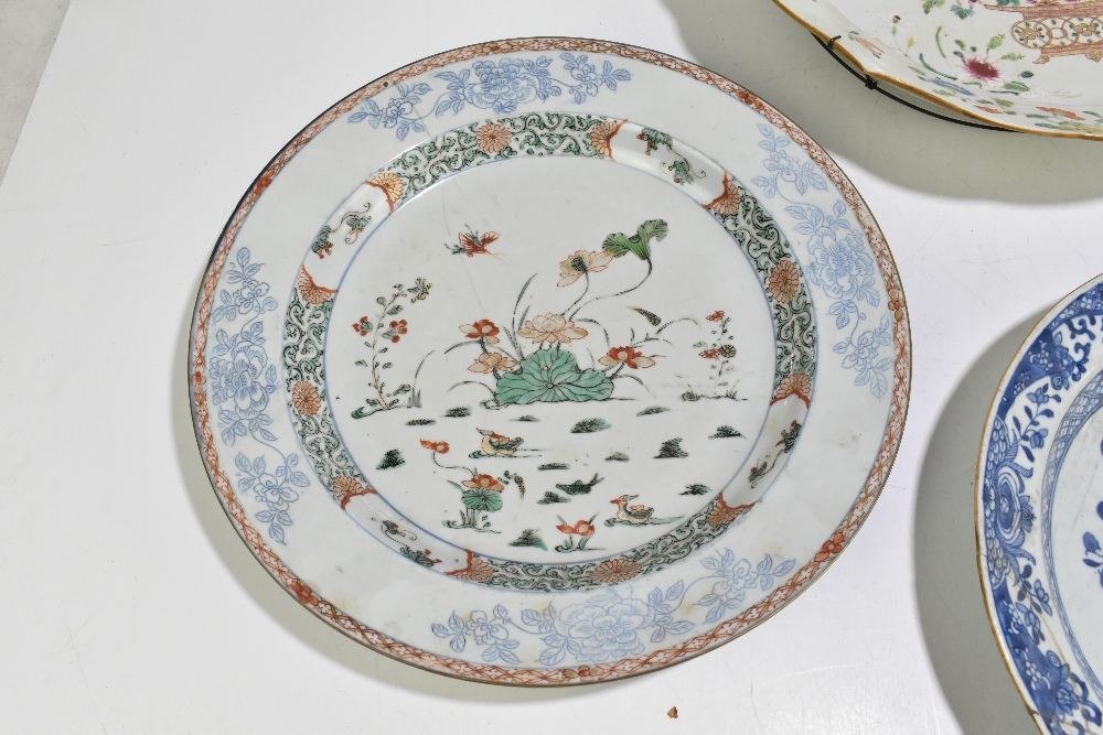 Four pieces of 18th century Chinese Export including a large Famille Rose bowl with scalloped - Image 2 of 15