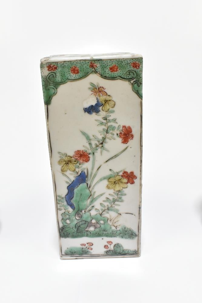 A 19th century Chinese Famille Verte Wucai porcelain vase of square form painted with objects, - Image 4 of 15