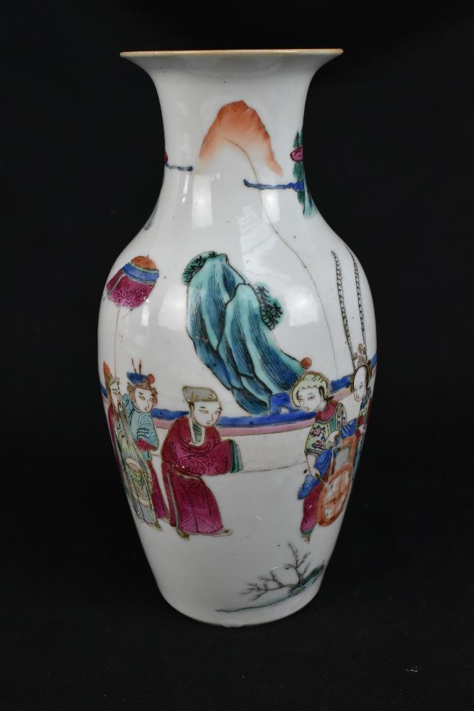 A late 19th century Chinese Famille Verte vase decorated in enamels with figures in landscape - Image 2 of 32
