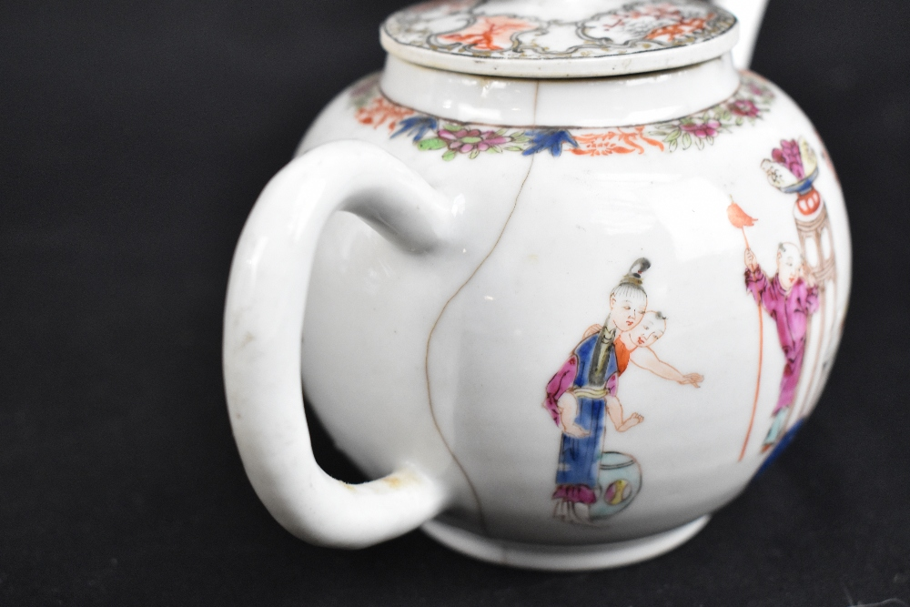 Three 18th century Chinese Famille Rose bullet shaped teapots including an example with figures - Image 6 of 10