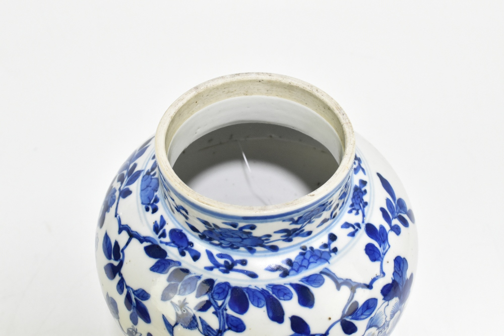 A late 19th century Chinese blue and white porcelain jar decorated with exotic birds perching beside - Image 5 of 7
