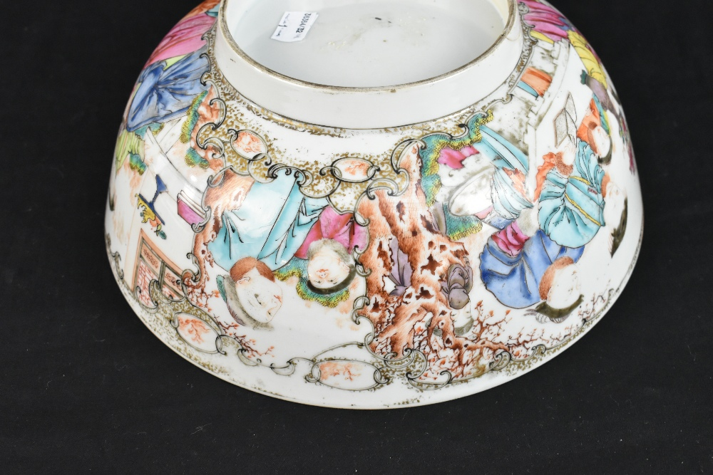 An 18th century Chinese Export Famille Rose footed bowl painted in enamels with figures in landscape - Image 10 of 11