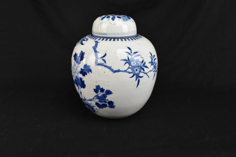 A late 19th century Chinese blue and white porcelain ginger jar and cover painted with exotic - Image 4 of 8