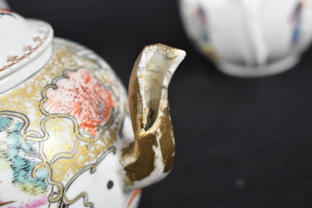 Three 18th century Chinese Famille Rose bullet shaped teapots including an example with figures - Image 5 of 10