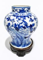 A late 19th century Chinese blue and white porcelain jar decorated with exotic birds perching beside