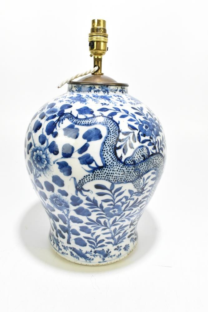 A 19th century Chinese blue and white porcelain vase converted to a table lamp, painted with a - Image 4 of 9