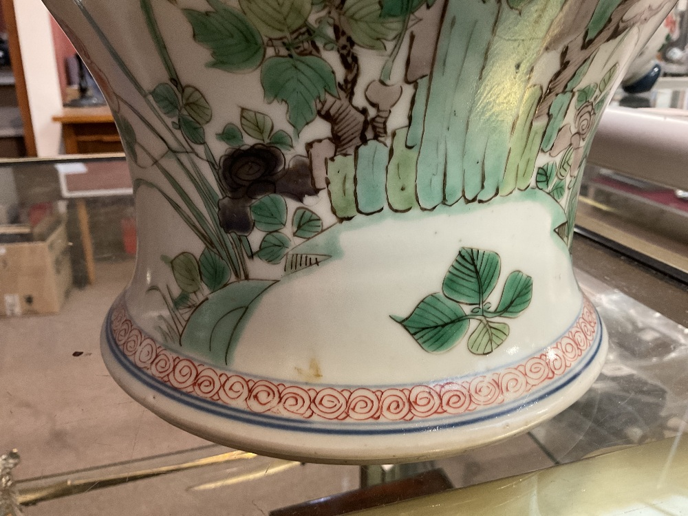 A 19th century Chinese Famille Verte Wucai porcelain temple jar and cover painted with a band of - Image 21 of 33