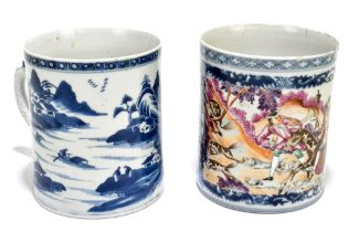 An 18th century Chinese Export blue and white mug decorated with a landscape scene and applied