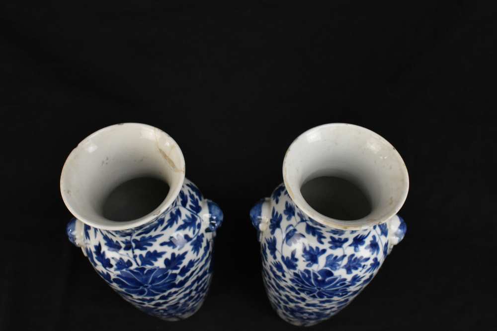 A pair of 19th century Chinese blue and white porcelain vases each with moulded handles representing - Image 4 of 14
