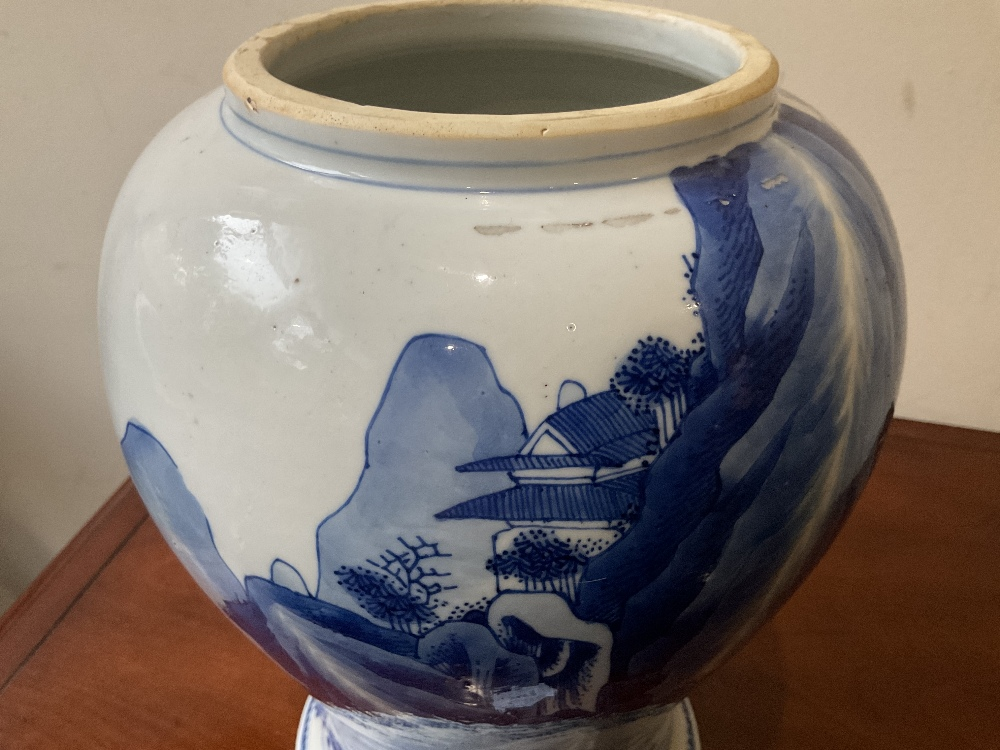 A 18th century Chinese Export blue and white vase with associated cover and stand decorated with - Image 19 of 21