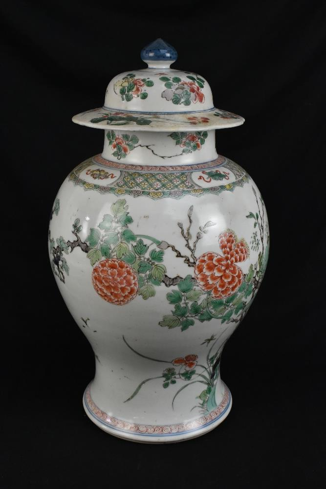 A 19th century Chinese Famille Verte Wucai porcelain temple jar and cover painted with a band of - Image 2 of 33