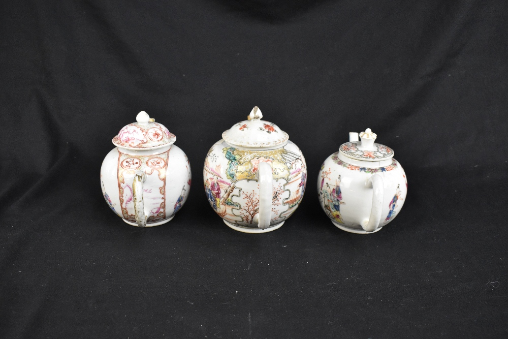 Three 18th century Chinese Famille Rose bullet shaped teapots including an example with figures - Image 4 of 10