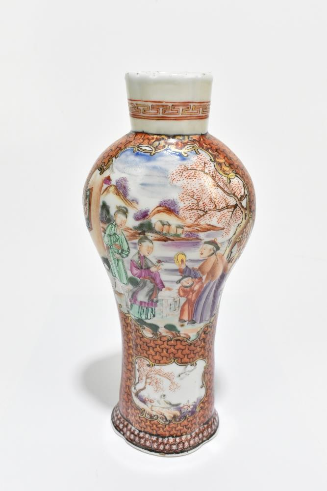 An 18th century Chinese Famille Rose porcelain vase painted in panels with elders in landscape - Image 8 of 15