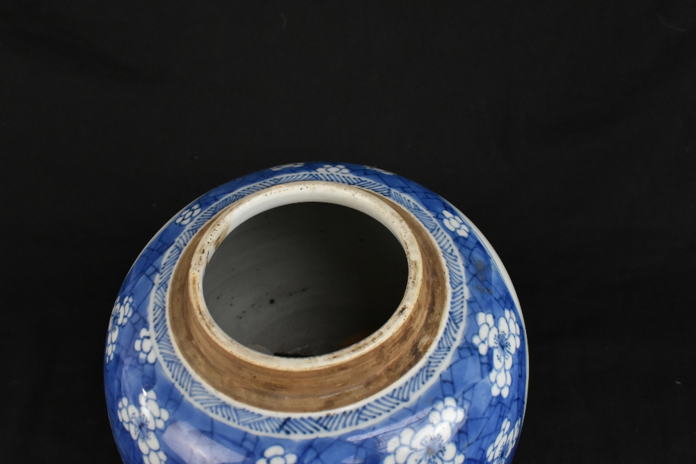 A late 19th century Chinese blue and white ginger jar and cover, the cover painted with a shishi - Image 5 of 10