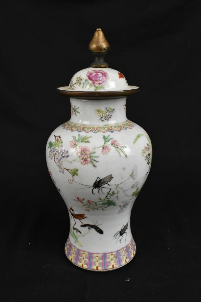 A pair of early 20th century Chinese porcelain Famille Rose temple jars and covers painted with - Image 9 of 16