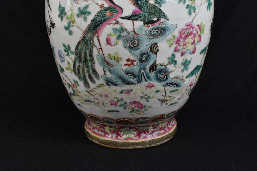 A large 19th century Chinese porcelain twin handled Famille Rose vase with flared neck with - Image 2 of 24
