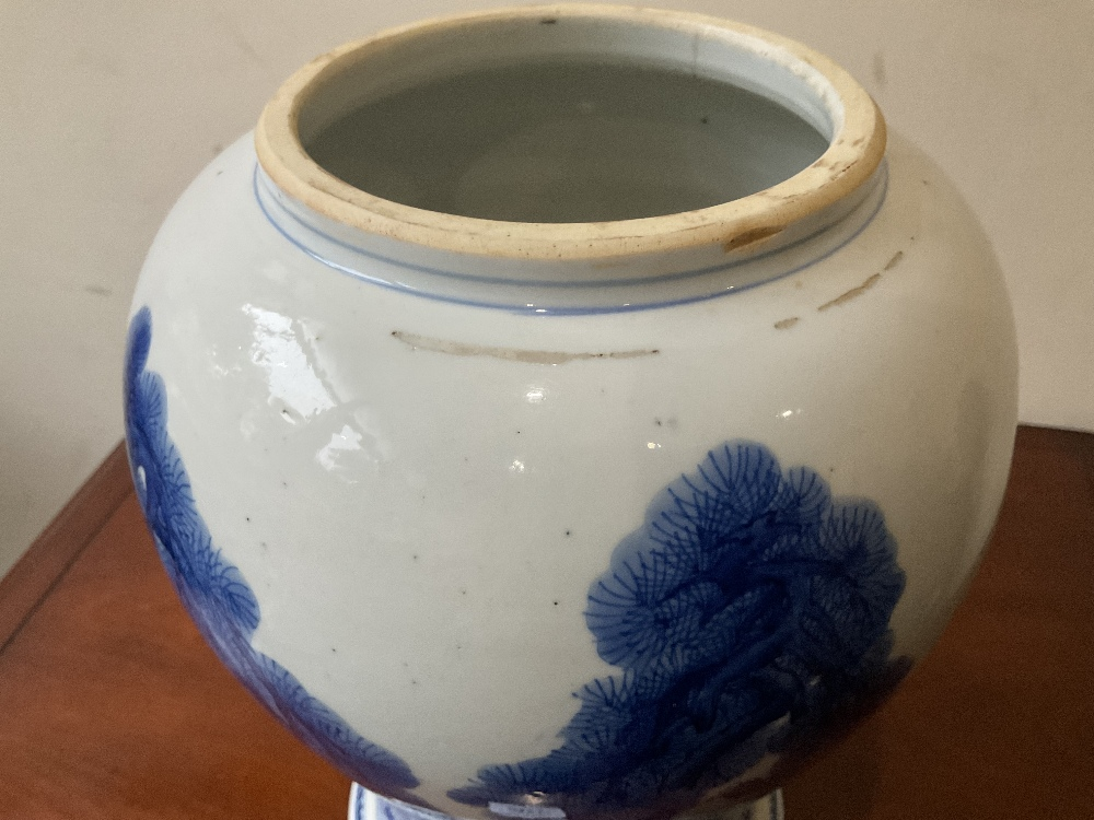 A 18th century Chinese Export blue and white vase with associated cover and stand decorated with - Image 11 of 21