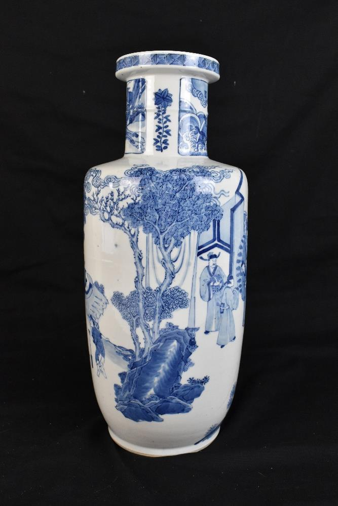 A good and large 19th century Chinese blue and white rouleau vase, painted with a continuous figural - Image 4 of 7