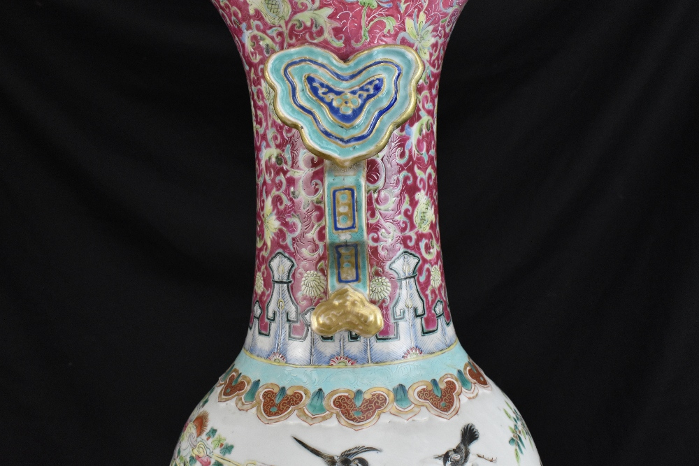 A large 19th century Chinese porcelain twin handled Famille Rose vase with flared neck with - Image 11 of 24