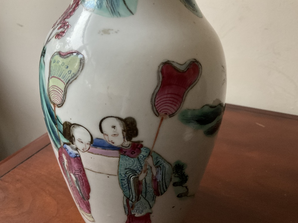 A late 19th century Chinese Famille Verte vase decorated in enamels with figures in landscape - Image 20 of 32
