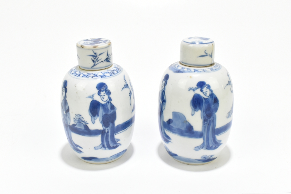 A pair of 18th century Chinese blue and white porcelain tea caddies and covers, painted with maidens - Image 2 of 23