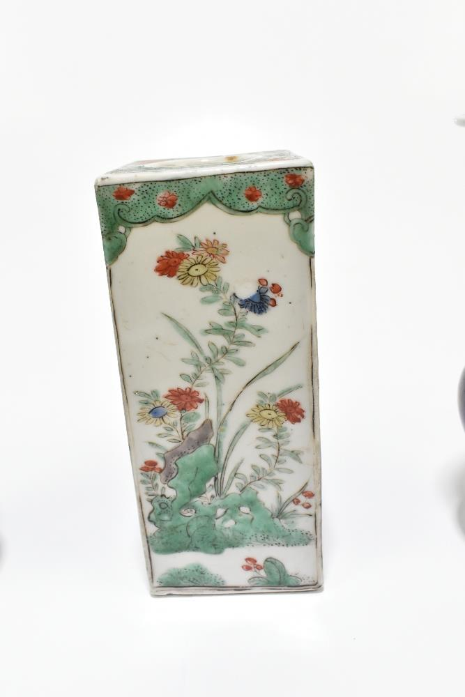 A 19th century Chinese Famille Verte Wucai porcelain vase of square form painted with objects, - Image 6 of 15