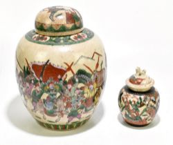 A mid-20th century Chinese Famille Verte crackle glazed ginger jar and cover, decorated with
