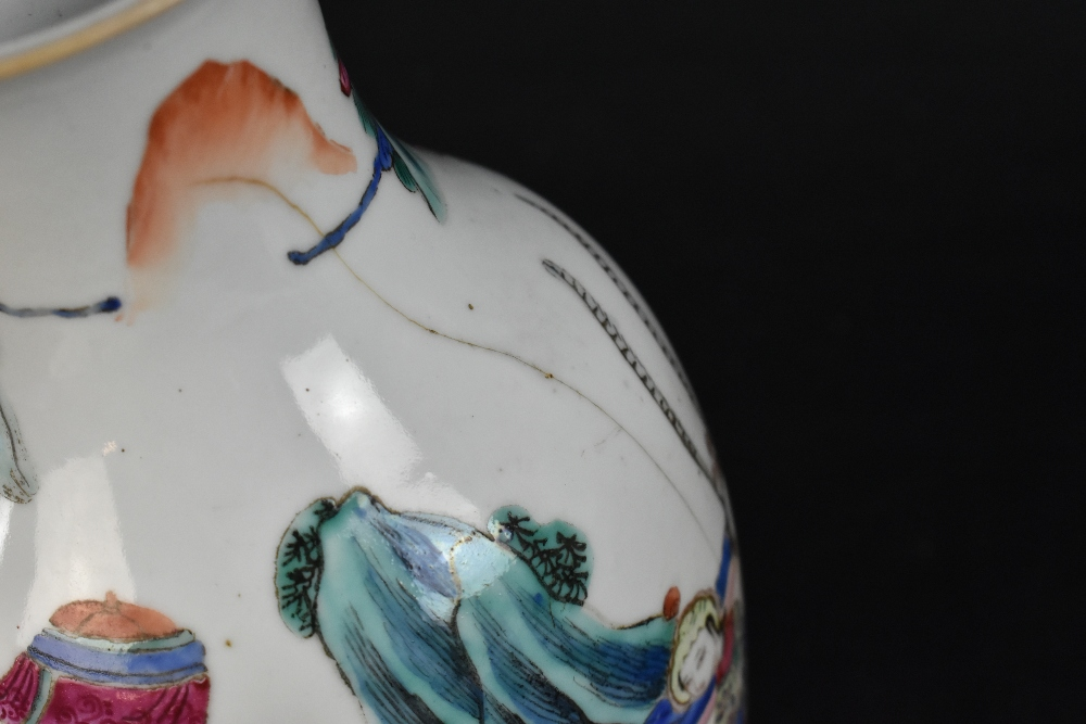 A late 19th century Chinese Famille Verte vase decorated in enamels with figures in landscape - Image 7 of 32