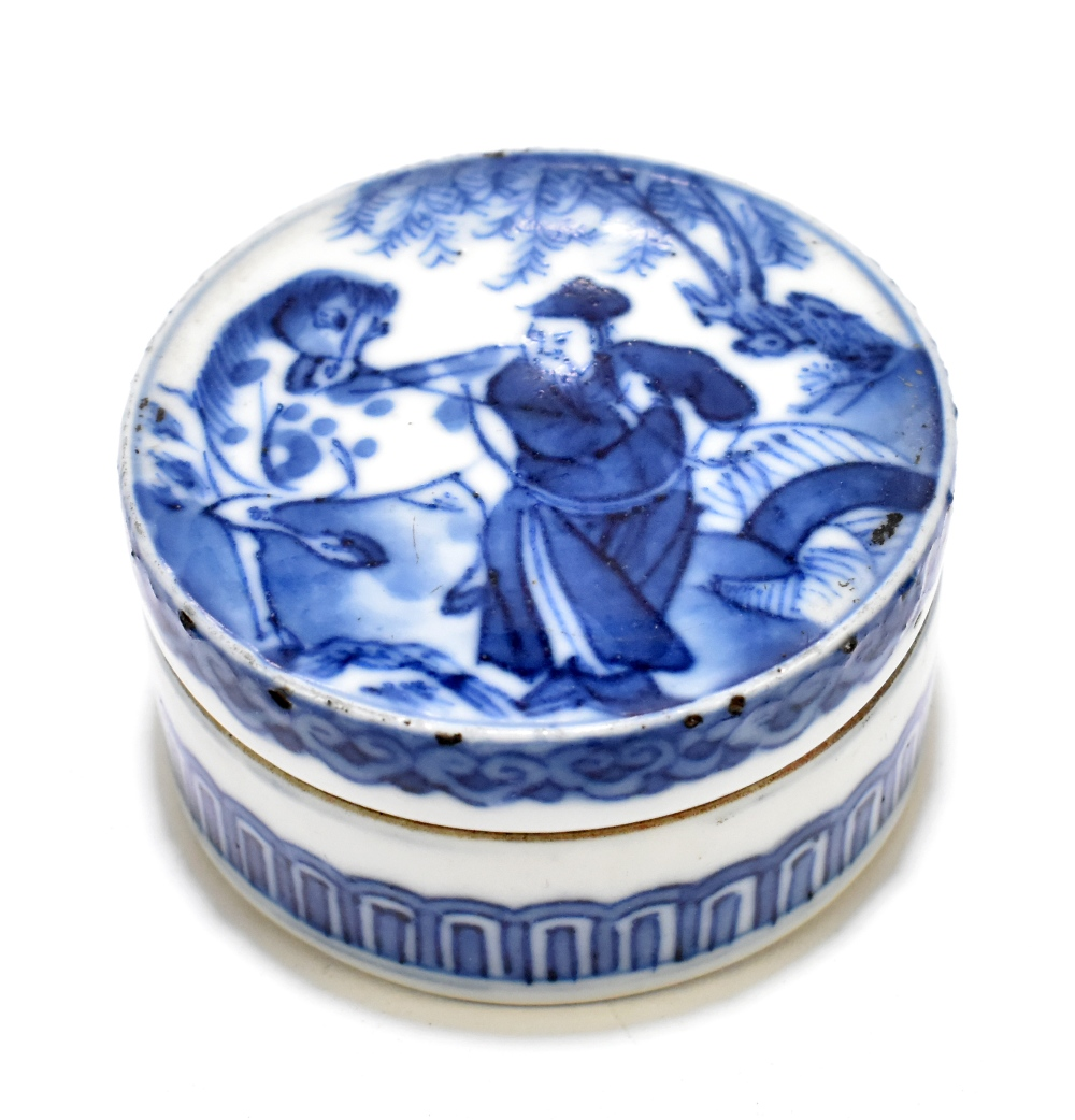 A 19th century Chinese porcelain trinket box and cover of circular form, the cover painted with an
