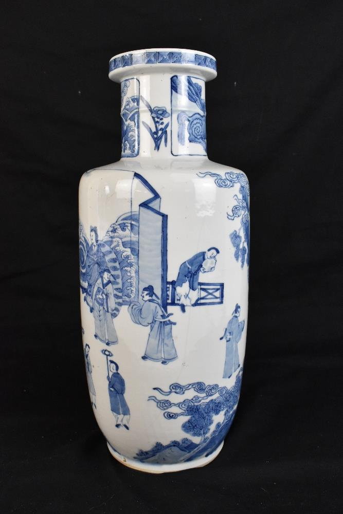 A good and large 19th century Chinese blue and white rouleau vase, painted with a continuous figural - Image 2 of 7