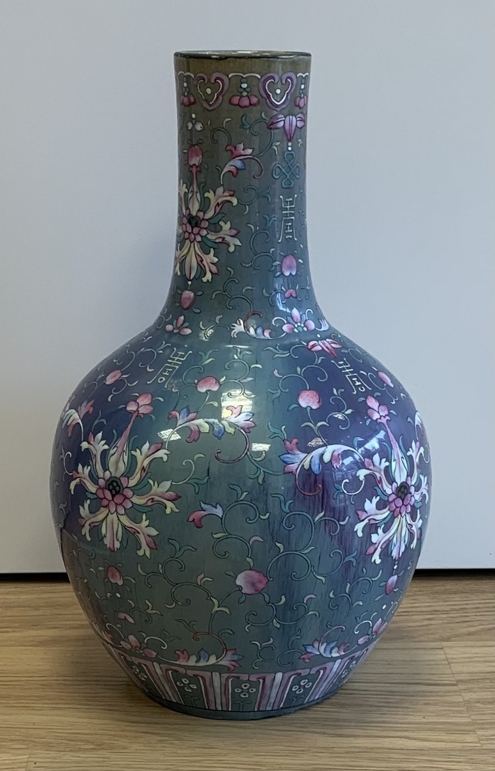 A large 18th century Chinese flambé vase, later enamel painted with stylised floral sprays, base - Image 2 of 18