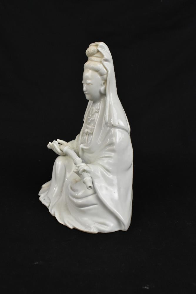 Two 19th century Chinese Blanc de Chine figures of Guan Ying including an example holding a child, - Image 10 of 11