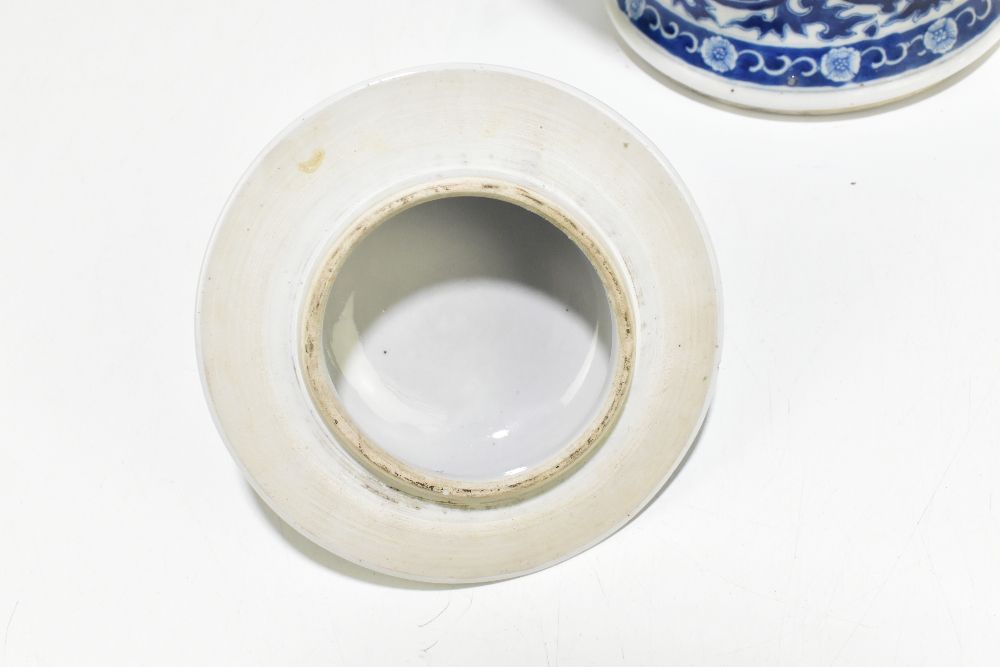 A late 19th century Chinese blue and white porcelain temple jar and cover, the top rim painted - Image 6 of 12