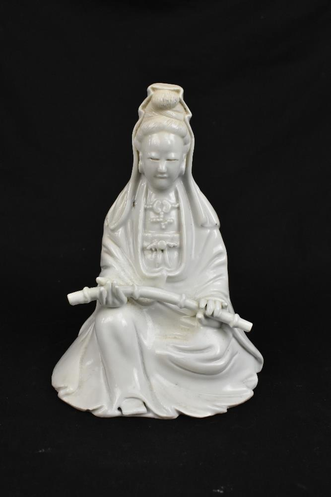 Two 19th century Chinese Blanc de Chine figures of Guan Ying including an example holding a child, - Image 7 of 11