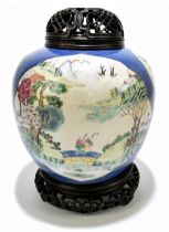 A late 19th century Chinese Famille Verte Wucai porcelain ginger jar with associated wooden cover