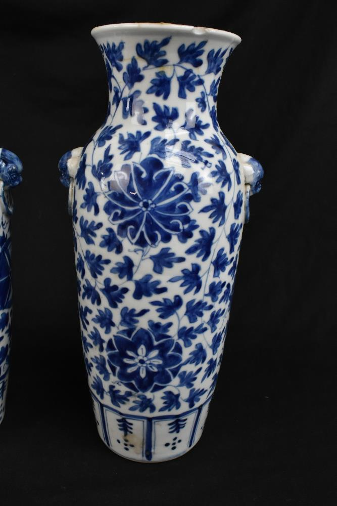 A pair of 19th century Chinese blue and white porcelain vases each with moulded handles representing - Image 3 of 14