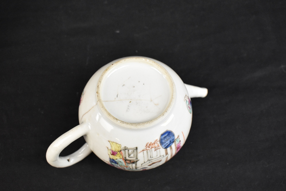 Three 18th century Chinese Famille Rose bullet shaped teapots including an example with figures - Image 10 of 10