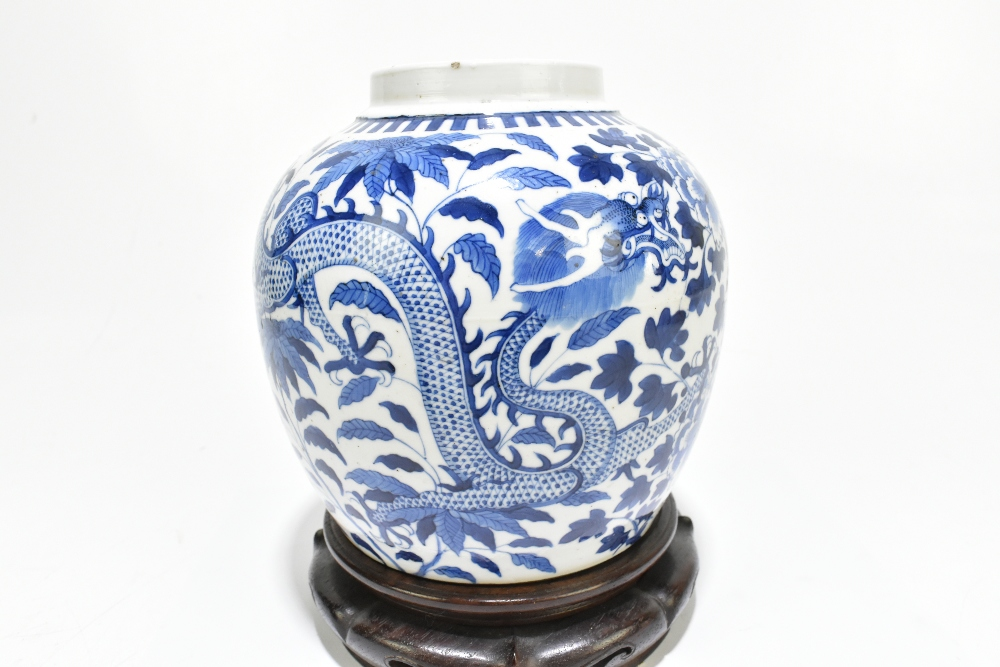 A late 19th century Chinese blue and white porcelain ginger jar decorated with a four claw dragon - Image 3 of 10